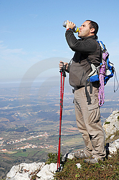 Man In A Top Of A In Mountain Hiking Stock Image - Image: 8595921