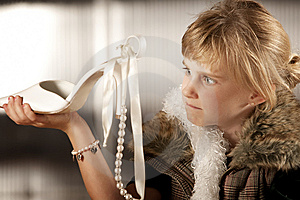 Cute Young Girl Looking Scornfully At An Adult Sho Royalty Free Stock Images - Image: 8596069