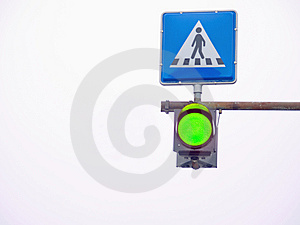 Go Light At A Pedestrian Crossing Royalty Free Stock Images - Image: 8596289