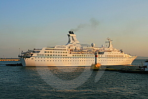 Cruise Ship And Lighthouse Stock Photo - Image: 8597160
