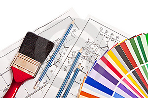 Pencils, Drawings  And Color Guide Royalty Free Stock Photography - Image: 8598697