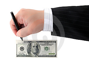 Human Hand Drawing A Banknote Stock Photography - Image: 8598862