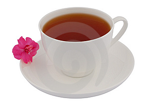 Cup Of Black Tea With Pink Flower Royalty Free Stock Photos - Image: 8598868