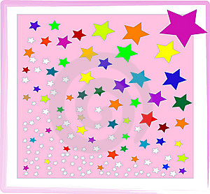 Multi-colored Stars On Pink Background. Royalty Free Stock Photography - Image: 8599397