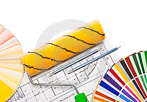 Paintig Roller, Pencils, Drawings  And Color Guide Stock Images - Image: 8599644