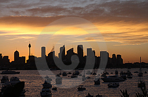 Beautiful Sun Set In Sydney Royalty Free Stock Photography - Image: 8600177