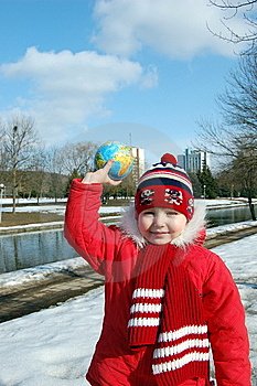 Girl With A Globe Stock Image - Image: 8600481