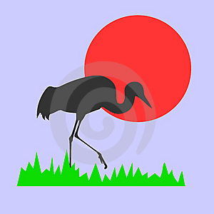 Vector Silhouette Of The Crane Royalty Free Stock Image - Image: 8600776