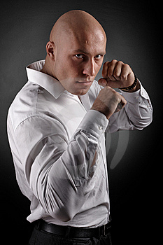 Security In A White Shirt Royalty Free Stock Image - Image: 8600926
