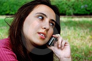 Fille Sur Le Téléphone Portable Photographie stock libre de droits - Image: 8601257