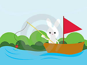 Fishing Bunny Stock Image - Image: 8601631