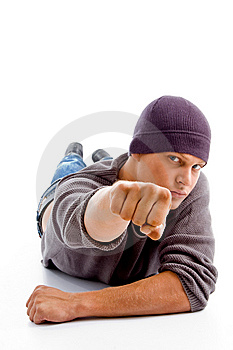 Handsome Man With Winter Cap Showing Punch Royalty Free Stock Image - Image: 8602076