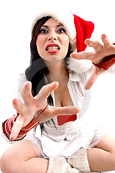 Woman With Christmas Hat Giving Bad Expression Stock Photo - Image: 8602120