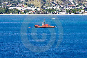 Orange Boat In Blue Water Stock Photos - Image: 8602733