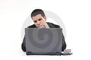 Businessman With Lap Top Stock Photos - Image: 8604303
