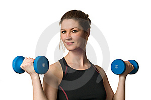 Fitness Woman Exercising W/ Weightlifting Dumbells Royalty Free Stock Photography - Image: 8604477