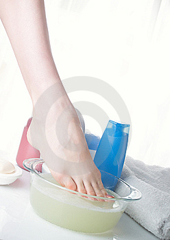 Washing Of A Female Leg Royalty Free Stock Image - Image: 8605186