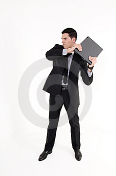 Businessman With Lap Top Computer Royalty Free Stock Photography - Image: 8605677