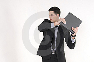 Businessman With Lap Top Computer Royalty Free Stock Images - Image: 8605709