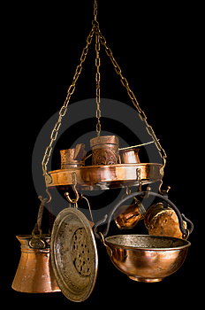 Vintage Bronze Kitchenware On Black Royalty Free Stock Photography - Image: 8605767