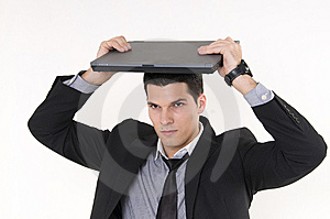 Businessman With Lap Top Stock Photography - Image: 8605832