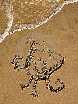 Drawing On The Sand Royalty Free Stock Photo - Image: 8605925