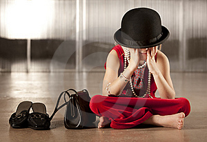 Girl With Her Face In Her Hat Stock Images - Image: 8606424