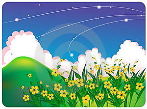 Summer Bright Landscape With White Flowers Stock Photos - Image: 8606703