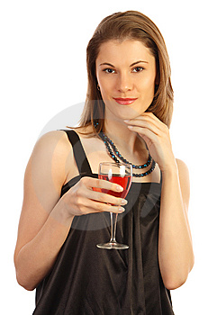 Girl With A Glass Of Wine. Isolated On White Stock Photos - Image: 8606943