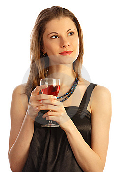 Girl With A Glass Of Wine. Isolated On White Royalty Free Stock Photography - Image: 8606947