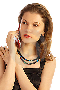 Woman Tlking On Thephone. Isolated On White Stock Images - Image: 8606964