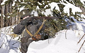 Finnish Soldier Aims From A Rifle Royalty Free Stock Image - Image: 8606976