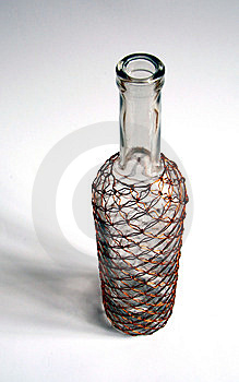 Glass Bottle With Wire Pattern Stock Photography - Image: 8607092