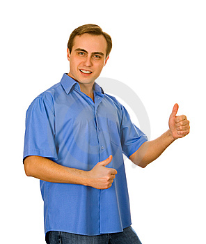 Guy Showing Two Thumbs Up. Isolated On White. Royalty Free Stock Image - Image: 8607106