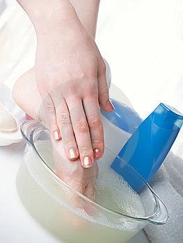 Washing Of A Female Leg Stock Photo - Image: 8607120
