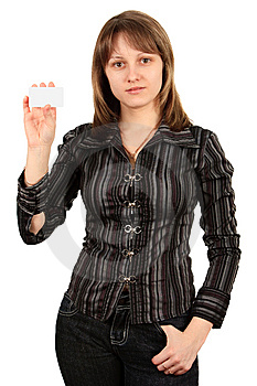 Woman With A Business Card. Isolated On White. Royalty Free Stock Images - Image: 8607159