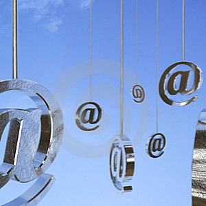 Blue Background And Email Symbols Stock Images - Image: 8607184