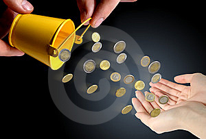 Coins Falling To Hands. Royalty Free Stock Image - Image: 8607266