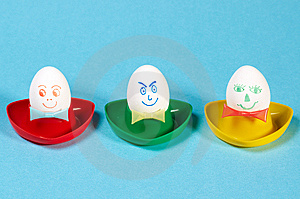 Three Funny Eggs Stock Photo - Image: 8607270