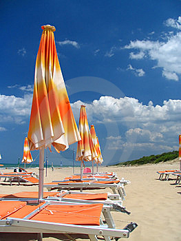 Parasols On The Beach Royalty Free Stock Photography - Image: 8607287