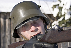 Finnish Soldier Shoots Royalty Free Stock Image - Image: 8607346