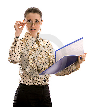 Businesswoman With Folders. Isolated On White. Stock Images - Image: 8607414