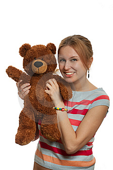 Girl With Teddy Bear Stock Photo - Image: 8607750