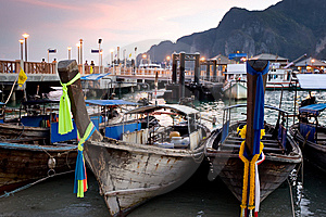 Longtail Boats At Sunset Royalty Free Stock Image - Image: 8607866