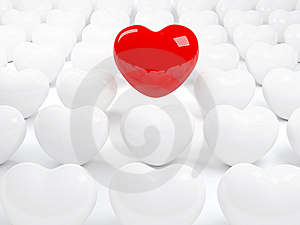 Isolated Red Heart And Many White Hearts Stock Photo - Image: 8608250