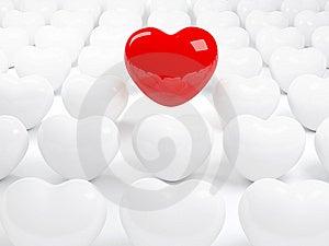 Lokalisiertes Rotes Herz Und Viele Weißen Herzen Stockfoto - Bild: 8608250