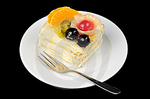 Creamy Tart With Fruits On Top Royalty Free Stock Image - Image: 8608286