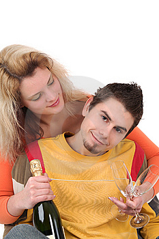 Young Couple Have Together Time With Champagne Stock Photography - Image: 8609132