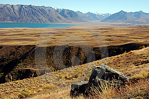 Rock And Ravine At Lake Tekapo Royalty Free Stock Image - Image: 8609456
