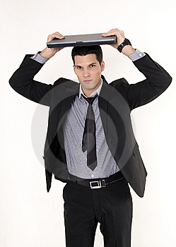 Businessman With Lap Top Computer Royalty Free Stock Images - Image: 8609809